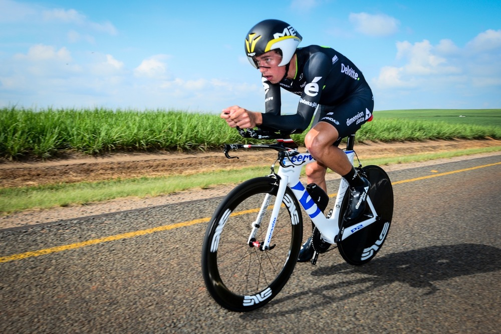 Dimension Data for Qhubeka Continental Team's Ryan Gibbons (01:02:35,32) was the second placed U23 rider during Day 2 of the 2016 SA National Road, Time Trial and Para-cycling Championships in Wartburg, KwaZulu-Natal, on Thursday 11 February. Photo credit: Darren Goddard