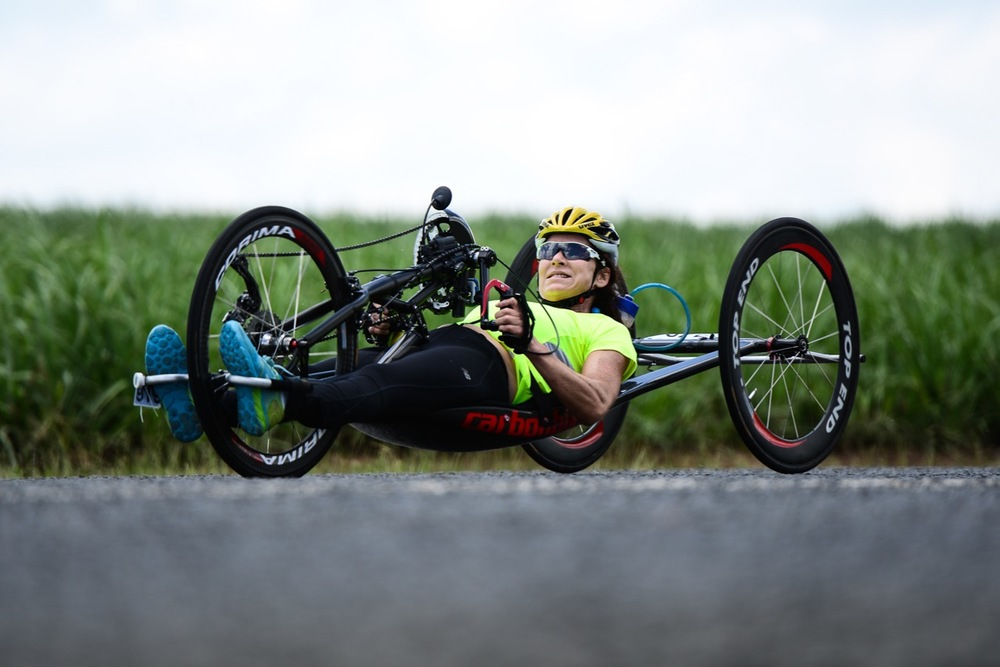 Double World Champion in the H2 handcycling class, Justine Asher, rode solidly and claimed the National Title in the Para-cycling Road Race on Day 2 of the 2016 SA National Road, Time Trial and Para-cycling Championships in Wartburg, KwaZulu-Natal, on Thursday 11 February. Photo credit: Darren Goddard