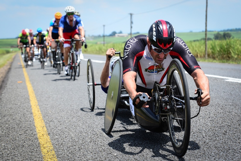 Newly crowned H5 handcycling National Champion Ernst van Dyk leads the pack in the Para-cycling Road Race on Day 2 of the 2016 SA National Road, Time Trial and Para-cycling Championships in Wartburg, KwaZulu-Natal, on Thursday 11 February. Photo credit: Darren Goddard