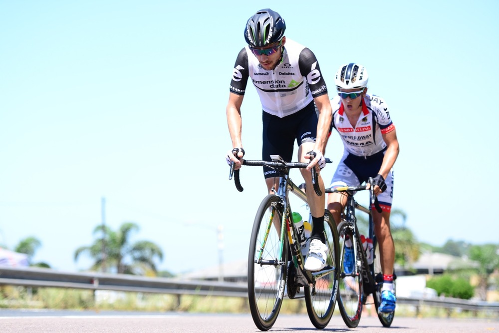 Jacques Janse van Rensburg (Dimension Data for Qhubeka) and Calvin Beneke held a lead gap of about seven minutes at the 2016 SA National Road, Time Trial and Para-cycling Championships in Westville, KwaZulu-Natal, on Sunday 14 February. Photo credit: Darren Goddard