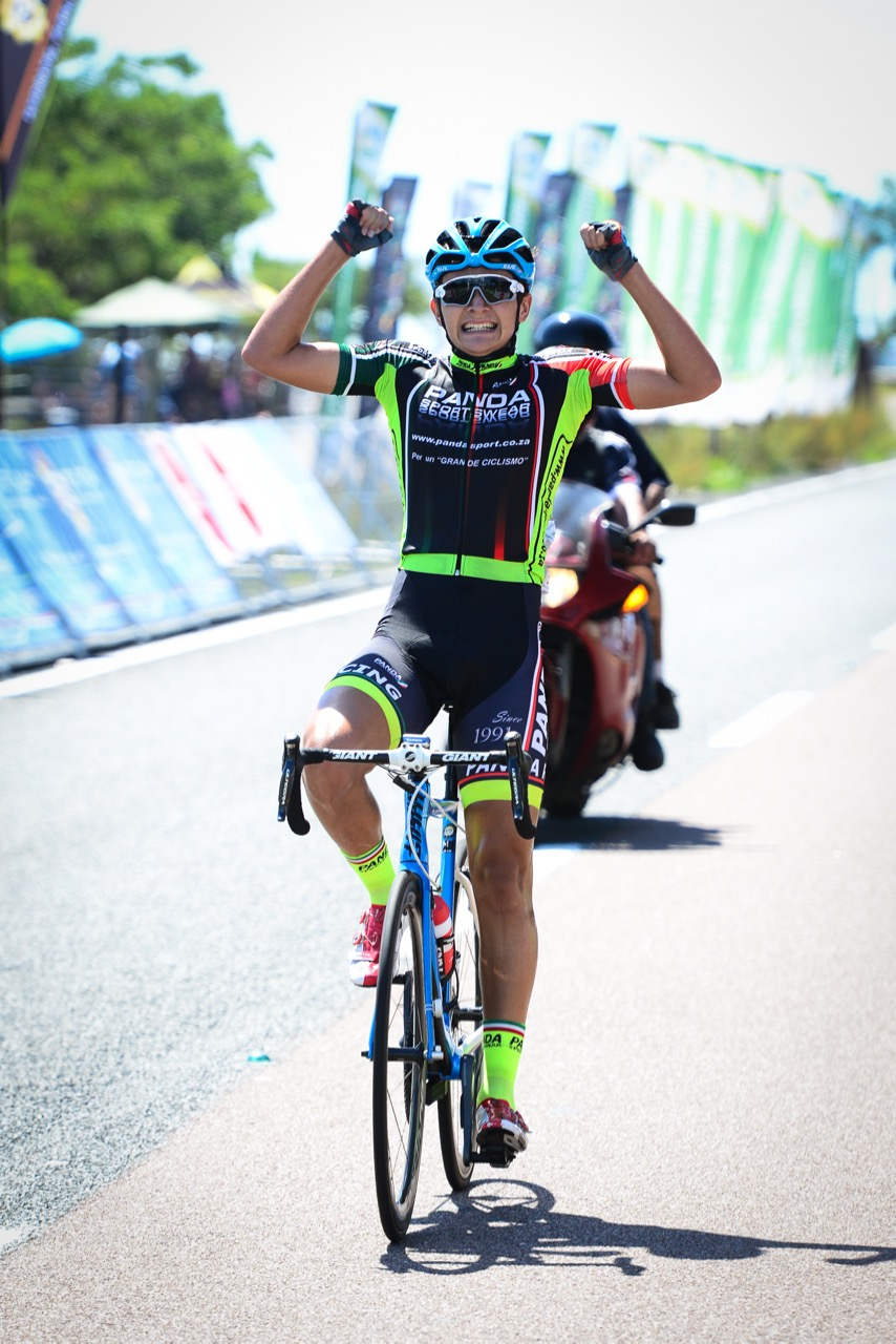 Devin Shortt (supported by Panda Sportswear) claimed top honours in the Junior Men Road Race at the 2016 SA National Road, Time Trial and Para-cycling Championships in Westville, KwaZulu-Natal,on Sunday 14 February.Photo credit: Darren Goddard