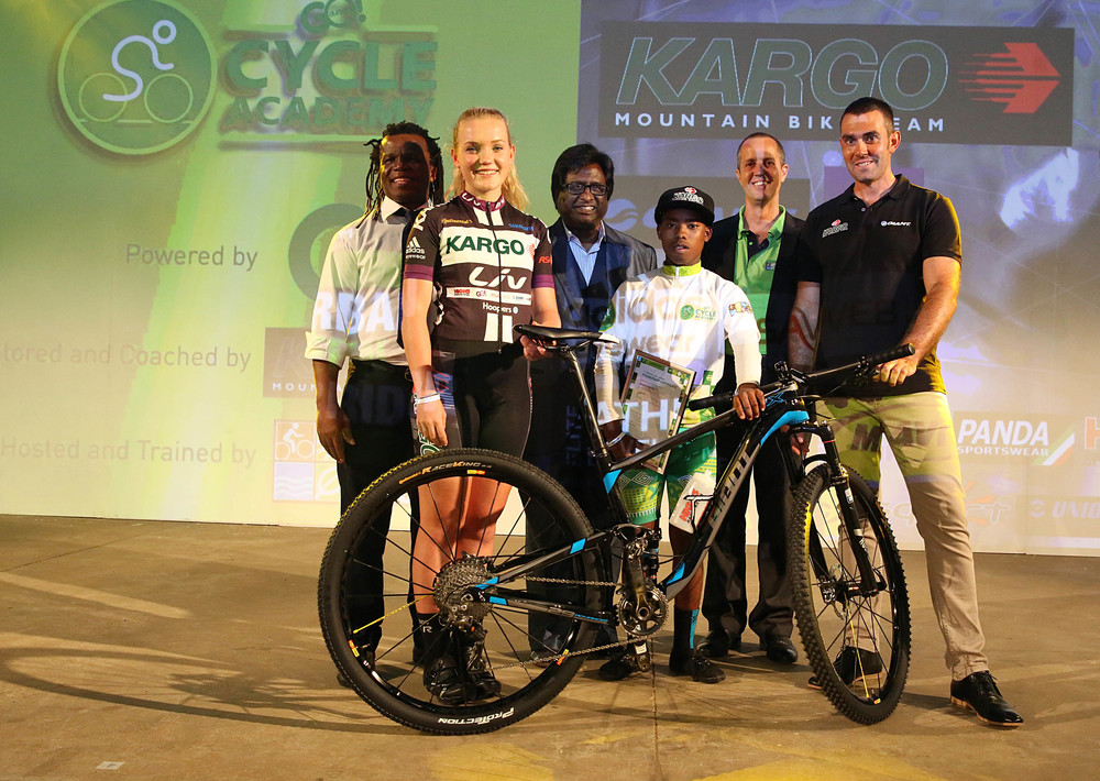 From left to right are Thami Manyathi, Head of the eThekwini Transport Authority, eThekwini Municipality Speaker Cllr Logie Naidoo, Gary Cullen from Durban Green Corridor, Kargo team owner/manager Shaun Peschl with Frankie du Toit (Kargo PRO Cycling Team)  and Sbusiso Ndlovu from the GO!Durban Cycle Academy at the Launch at Gateway on 11 February.