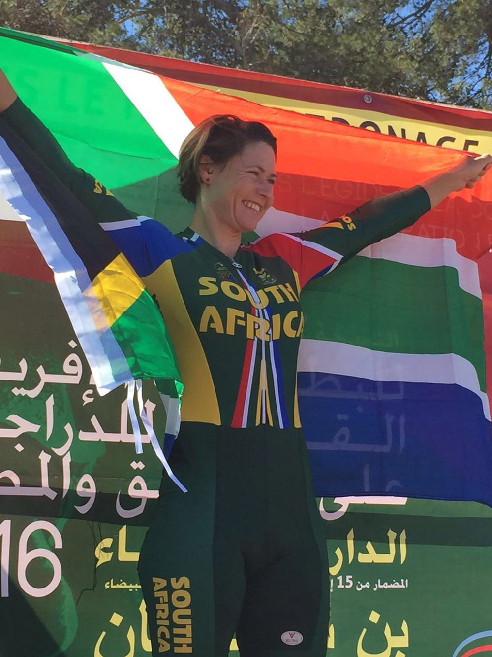 Samantha Sanders (33) claimed a bronze medal in the Individual Time Trial at the 2016 CAC (African Cycling Confederation) Road Cycling Championships in Benslimane, Morocco, on Tuesday 23 February.