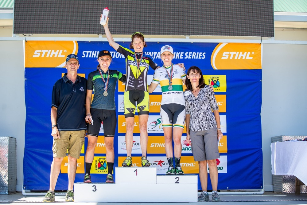 Pro-Elite Women's podium from left: Genevieve van Coller (3rd), Esther Süss (Wheeler - 1st) and Cherie Vale (Novus OMX Pro Team - 2nd) during round two of the Stihl 2016 SA XCO Cup Series at Helderberg Farms, Somerset West, on Saturday 27 February. Photo credit: Chris Hitchcock