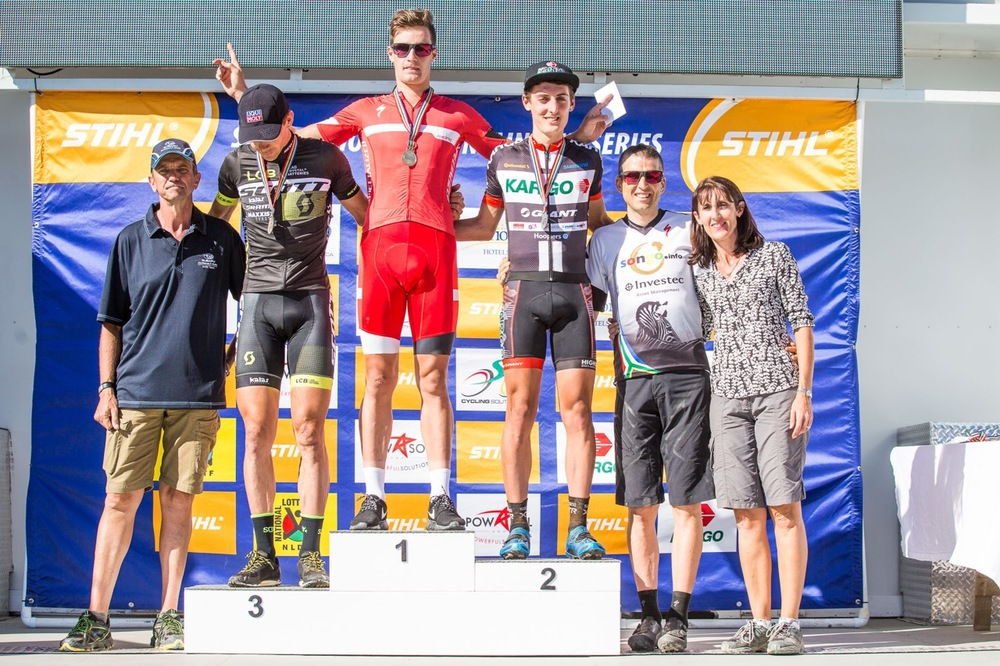Pro-Elite Men's podium from left: Philip Buys (Scott Factory Racing powered by LCB - 3rd), Samuel Gaze (S-Racing XCO - 1st) and Alan Hatherly (Kargo Pro MTB Team - 2nd) with Specialized Performance Director Christoph Sauser during round two of the Stihl 2016 SA XCO Cup Series at Helderberg Farms, Somerset West, on Saturday 27 February. Photo credit: Chris Hitchcock
