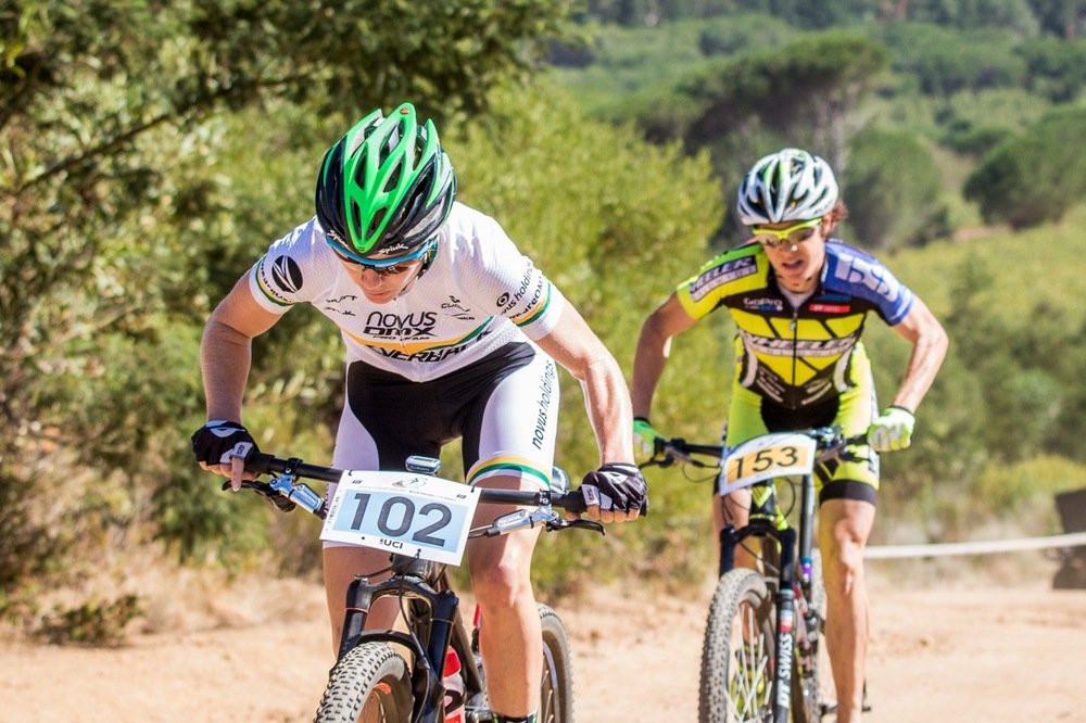 South African National Champion, Cherie Vale (Novus OMX Pro Team) leading eventual race winner Esther Süss (Wheeler) of Switzerland during round two of the Stihl 2016 SA XCO Cup Series at Helderberg Farms, Somerset West, on Saturday 27 February. Photo credit: Chris Hitchcock