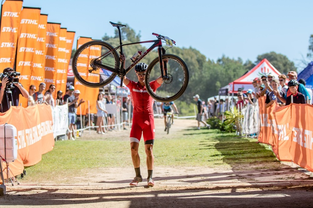 2014 Commonwealth Games silver medallist Samuel Gaze (NZL) of the S-Racing XCO team had a good start and led the seven-lap Elite Men's race from the get-go during round two of the Stihl 2016 SA XCO Cup Series at Helderberg Farms, Somerset West, on Saturday 27 February. Photo credit: Chris Hitchcock