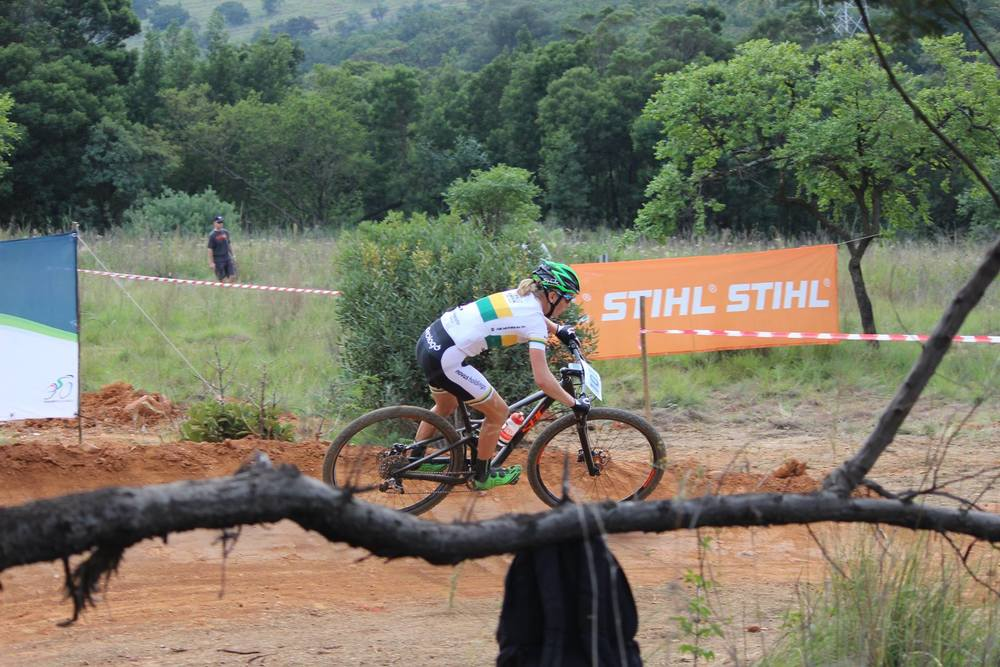Novus OMX Pro Team's Cherie Redecker won the five-lap Pro-Elite women's race at round three of the Stihl 2016 SA XCO Cup Series hosted by the City of Thswane at Wolwespruit Bike Park in Erasmuskloof, Pretoria, on Saturday 26 March. Photo credit: Alcock's Quick Snaps
