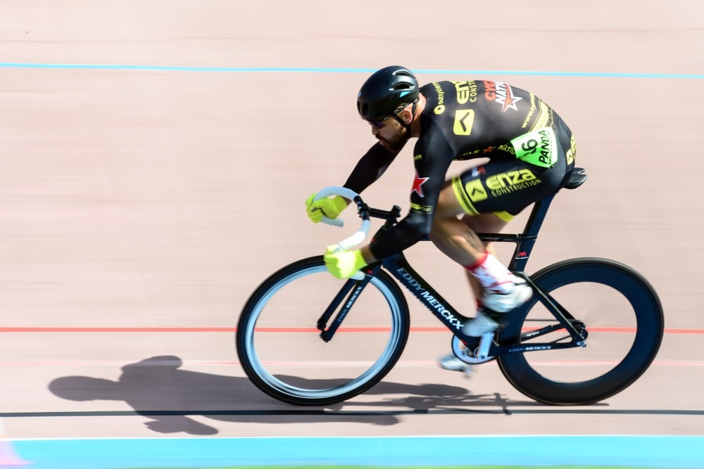 Bradley Sean Smith (Cycle Nation/Enza Construction) during the Men 35-39 Sprint Qualifier on day two of the 2016 South African Track and Para-cycling Championships at the Westbourne Oval in Port Elizabeth on Tuesday 29 April. Photo credit: Darren Goddard