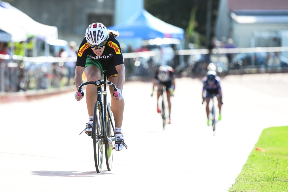 The Keirin discipline added yet another thrilling display of top-notch racing action with Bernette Beyers (Team Energas) taking the Elite Women's title on day five of the 2016 South African Track and Para-cycling Championships at the Westbourne Oval in Port Elizabeth on Friday 1 April. Photo credit: Darren Goddard