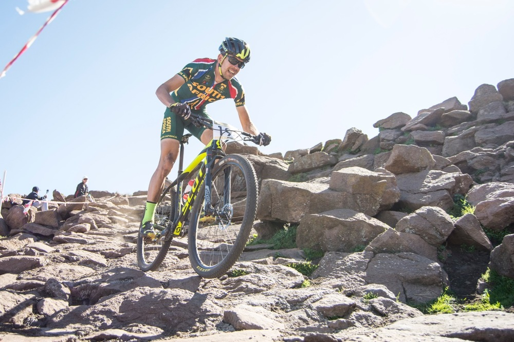 Cross-country specialist Philip Buys (RSA) claimed the Elite Men Continental Title at the 2016 African Continental Mountain Bike Championships at the Afriski Resort from Tuesday 29 March to Sunday 3 April. Photo credit: Andrew McFadden