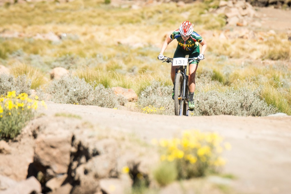 Mariske Strauss (RSA) claimed the Elite Women's victory in the cross-country race at the 2016 African Continental Mountain Bike Championships at the Afriski Resort from Tuesday 29 March to Sunday 3 April. Photo credit: Andrew McFadden