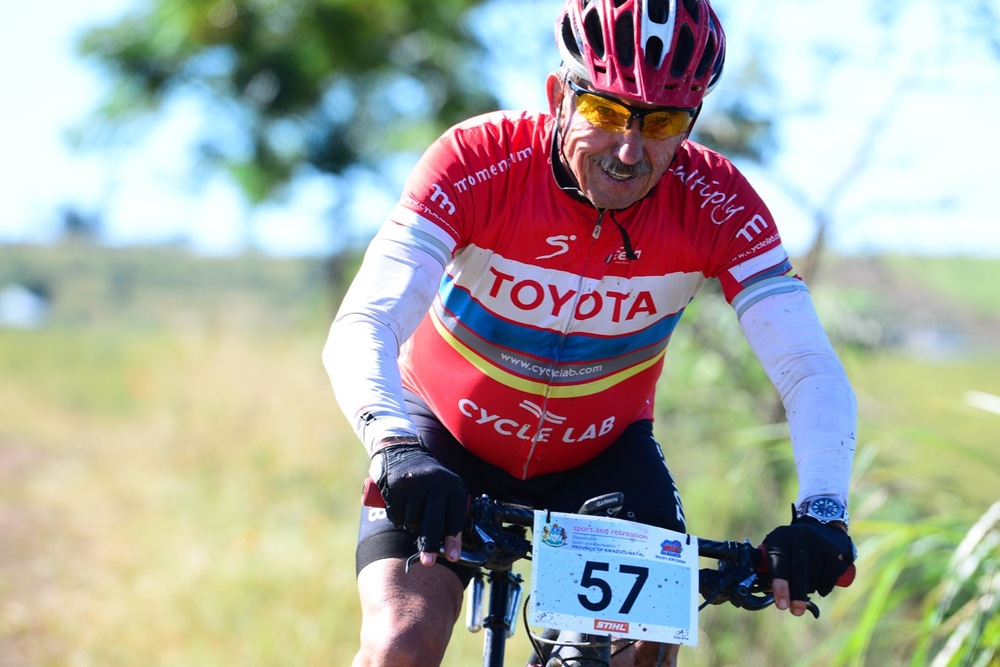 Gerry de Boer finished the 60km race in second place in the Men's 60+ category during the SA MTB Masters Marathon Championships at the 2016 Pietermaritzburg MTB Festival at Cascades MTB Park on Sunday 1 May. Photo: Darren Goddard