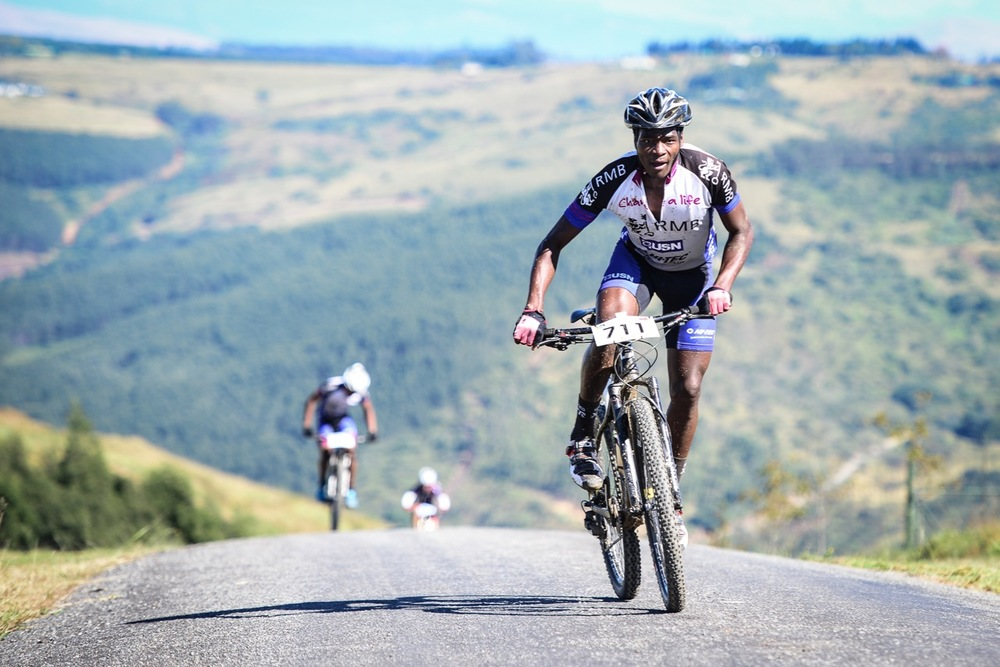 Sthembiso Masango couldn't resist racing so close to home when he finished third in the 60km non-championship marathon race in a time of 02:45:16 at the 2016 Pietermaritzburg MTB Festival at Cascades MTB Park on Sunday 1 May. Photo: Darren Goddard