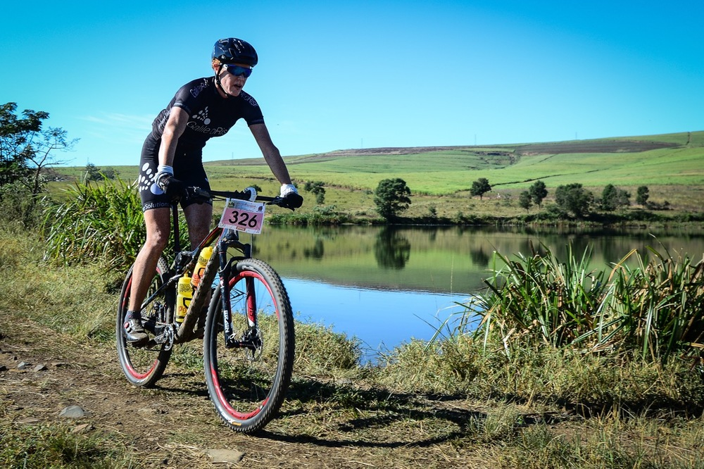 Second place in the Women's overall race was decided in a very-close sprint finish with Theresa Ralph (40-44) crossing the line in 03:10:10 to take her category win during the SA MTB Masters Marathon Championships at the 2016 Pietermaritzburg MTB Festival at Cascades MTB Park on Sunday 1 May. Photo: Darren Goddard