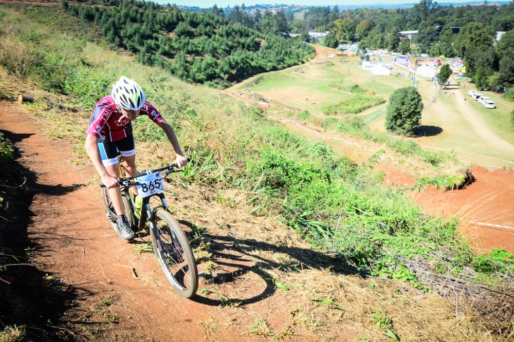 Sub Junior Mitchel Potgieter representing Thomas More College during the KwaZulu-Natal Schools Challenge at the 2016 Pietermaritzburg MTB Festival at Cascades MTB Park on Monday 2 May. Photo: Darren Goddard