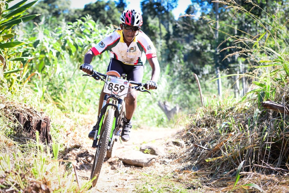 Mlungisi Mazibuko of Glenwood High School raced in the Youth category during the KwaZulu-Natal Schools Challenge at the 2016 Pietermaritzburg MTB Festival at Cascades MTB Park on Monday 2 May. Photo: Darren Goddard