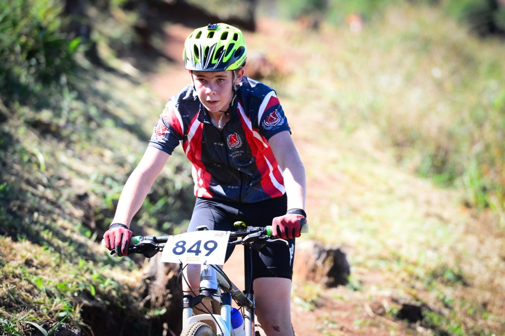 Matthew Uhlmann from Maritzburg College racing in the Sub Junior category during the KwaZulu-Natal Schools Challenge at the 2016 Pietermaritzburg MTB Festival at Cascades MTB Park on Monday 2 May. Photo: Darren Goddard