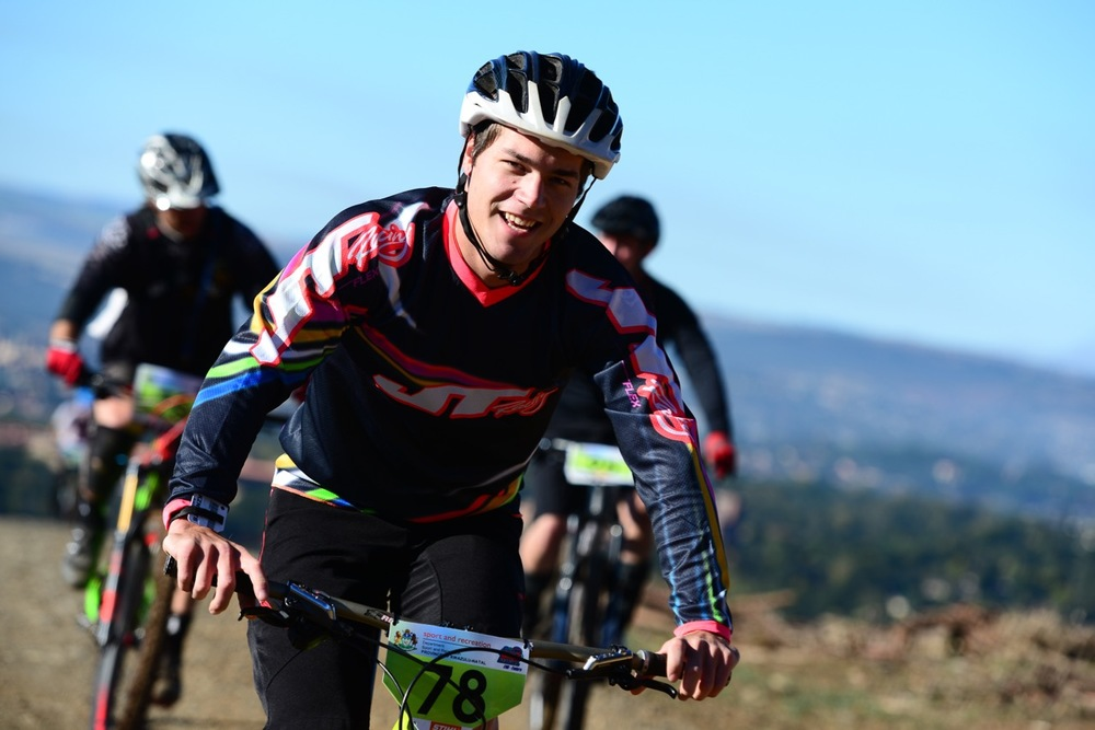 Local rider and multiple Downhill National Champion Tiaan Odendaal blitzed the trails on the Cascades mountain side, winning the four-stage race by a cumulative 22 seconds in a time of 13 minutes and 40 seconds during the Enduro at the 2016 Pietermaritzburg MTB Festival at Cascades MTB Park on Monday 2 May. Photo: Darren Goddard