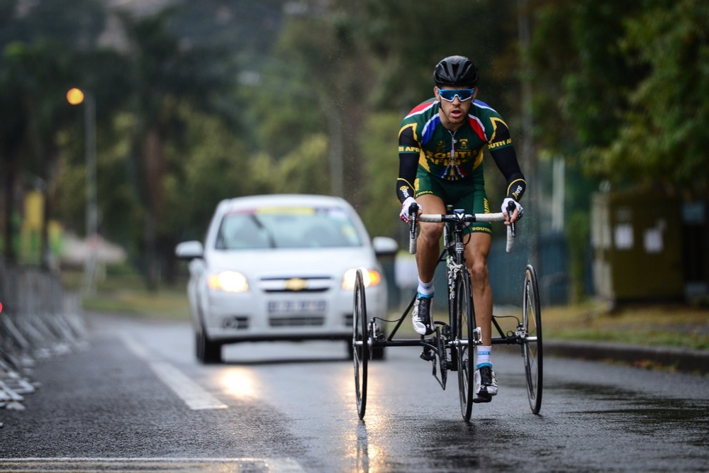 South African Goldy Fuchs won the T2 race over 18.45 kilometres in a time of 34:01.978 at the 2016 UCI Para-cycling Road World Cup at Alexandra Park, Pietermaritzburg, on Saturday 7 May. Photo Credit: Darren Goddard