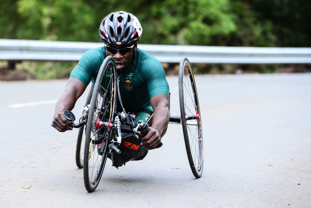 South African Simon Makgobela put in a strong performance during the Men's H5 Time Trial at the 2016 UCI Para-cycling Road World Cup at Alexandra Park, Pietermaritzburg, on Saturday 7 May. Photo Credit: Darren Goddard