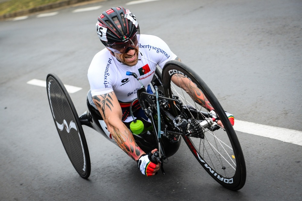 H5 hand cyclist Luis Miguel Costa (POR) claimed a silver medal during the Time Trial at the 2016 UCI Para-cycling Road World Cup at Alexandra Park, Pietermaritzburg, on Saturday 7 May. Photo Credit: Darren Goddard