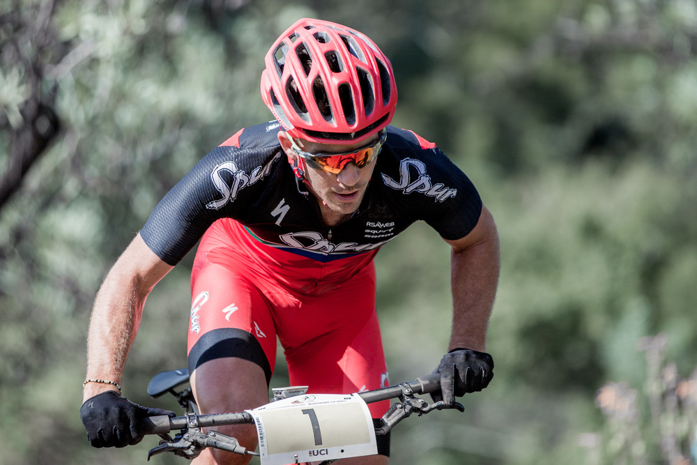James Reid (Team Spur) currently leads the hotly-contested Pro-Elite Men Series Log after the first three events in the STIHL 2016 SA XCO Cup Series as we head into round four in the Eastern Cape at Settler's Park in Port Elizabeth on Saturday 14 May. Photo credit: Hendrik Steytler