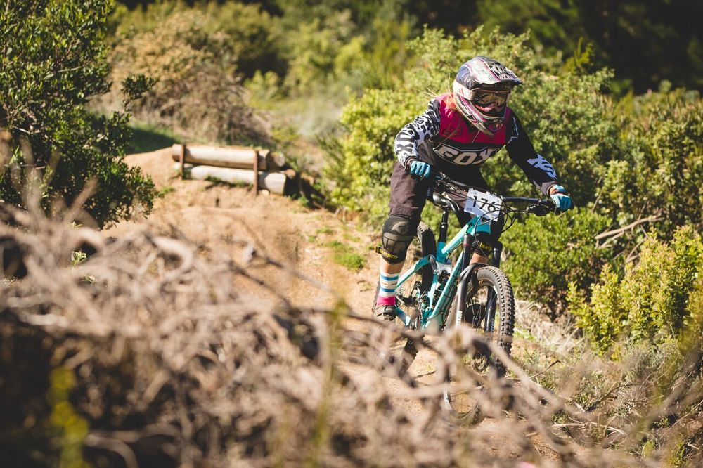 The Elite and overall Women's title went to Kim Westbrook at the third round of the 2016 SA National Downhill Cup series, which took place at Cascade Manor in Paarl on Sunday 1 May. Photo: Ewald Sadie