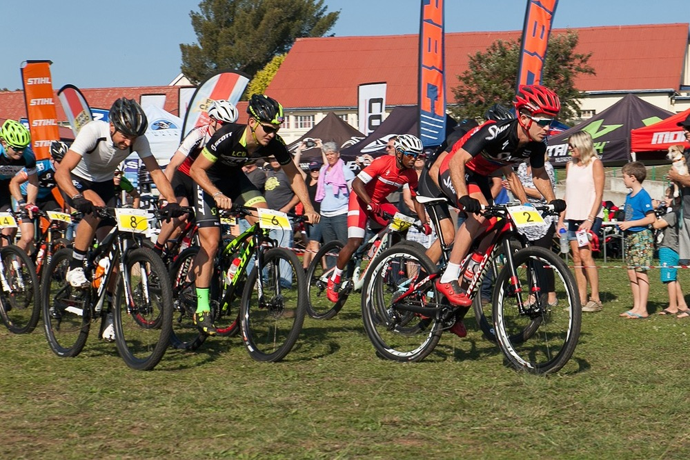 It was a hard and fast start in the Pro-Elite Men's race, where Team Spur's James Reid emerged the victor at Settlers Park Nature Reserve in the fourth round of the Stihl 2016 SA XCO Cup Series in Port Elizabeth on Saturday 14 May. Photo credit: Anton Havenga