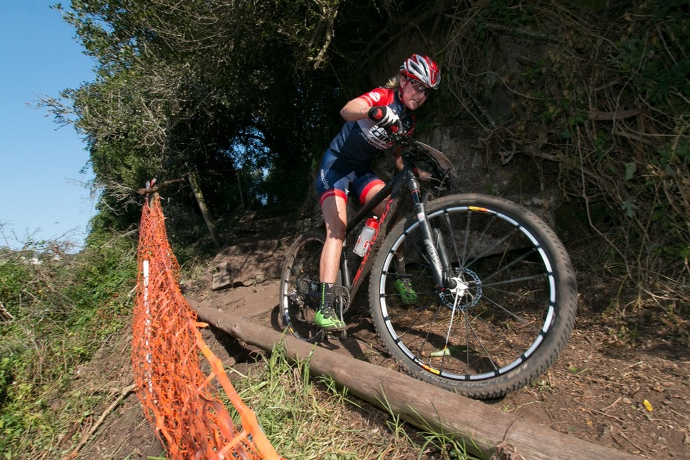 Mariske Strauss (Novus Pro OMX Team) leads the way in the Pro-Elite Women's race at Settlers Park Nature Reserve in the fourth round of the Stihl 2016 SA XCO Cup Series in Port Elizabeth on Saturday 14 May. Photo credit: Anton Havenga