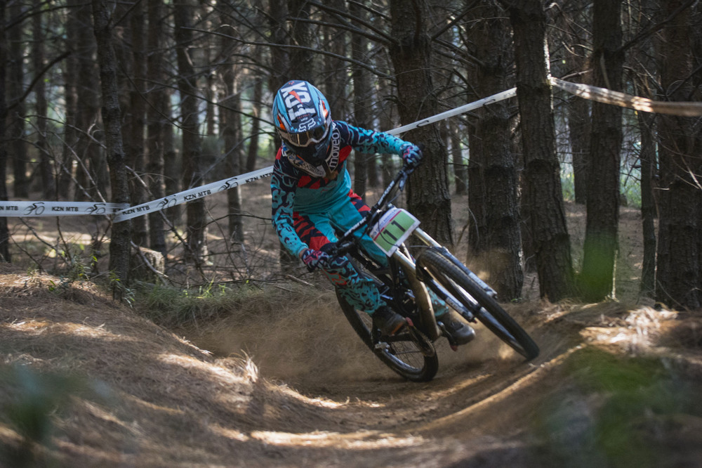 "Sabine ""Beani"" Thies (riding for Greg Minnaar Cycles / Pizzology Craft Café / Foxhead South Africa) took the Overall and Sub Junior Women's victory at the third round of the 2016 KZNMTB Provincial Downhill Series – presented by Greg Minnaar Cycles, on Sunday 22 May, which doubled as the fourth round of the 2016 SA National DHI Cup Series. Photo credit: Andrew McFadden/BOOGS Photography"