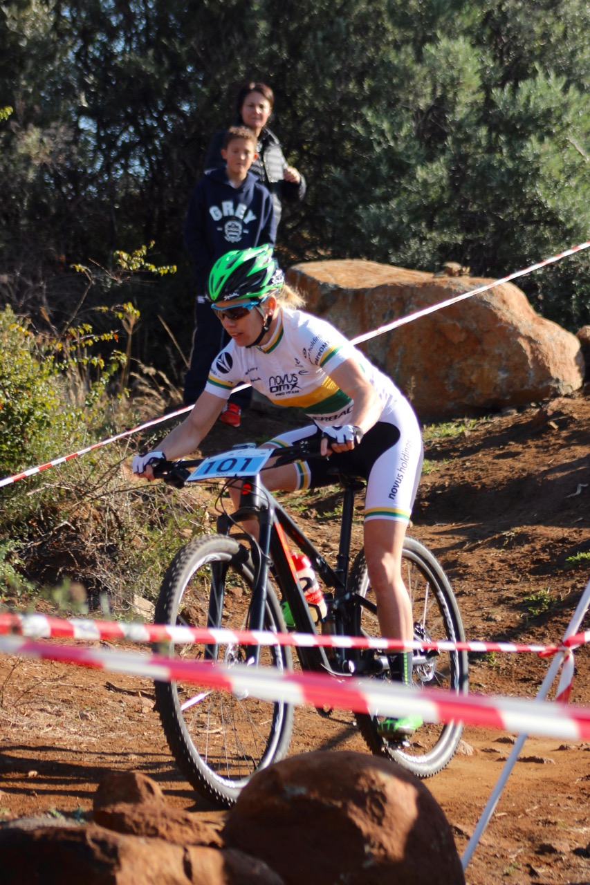 Elite Women's race winner Cherie Redecker (Novus OMX Pro Team) enjoyed the flow of the technically challeging track to take a decisive victory in her category at the fifth and final round of the STIHL 2016 SA XCO Cup Series (UCI Cat 2) at Happy Valley Conservancy in Bloemfontein, Free State, on Saturday 18 June. 📷 Pieter Herbst