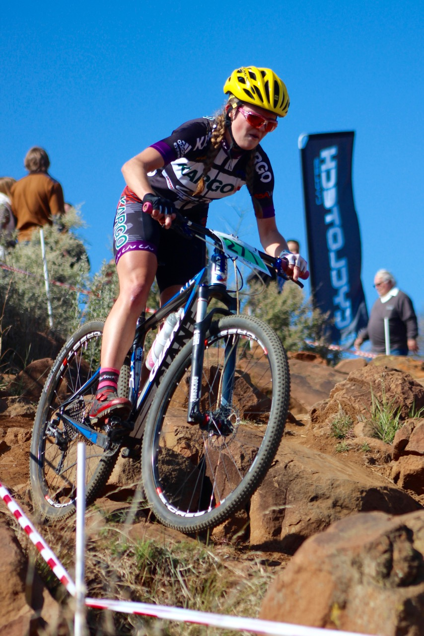 The Junior Women's race saw Kristen Louw (Kargo Pro MTB Team) take a decisive victory against Allison Morton, winning her three-lap race by two-and-a-half-minutes at the fifth and final round of the STIHL 2016 SA XCO Cup Series (UCI Cat 2) at Happy Valley Conservancy in Bloemfontein, Free State, on Saturday 18 June. 📷 Pieter Herbst