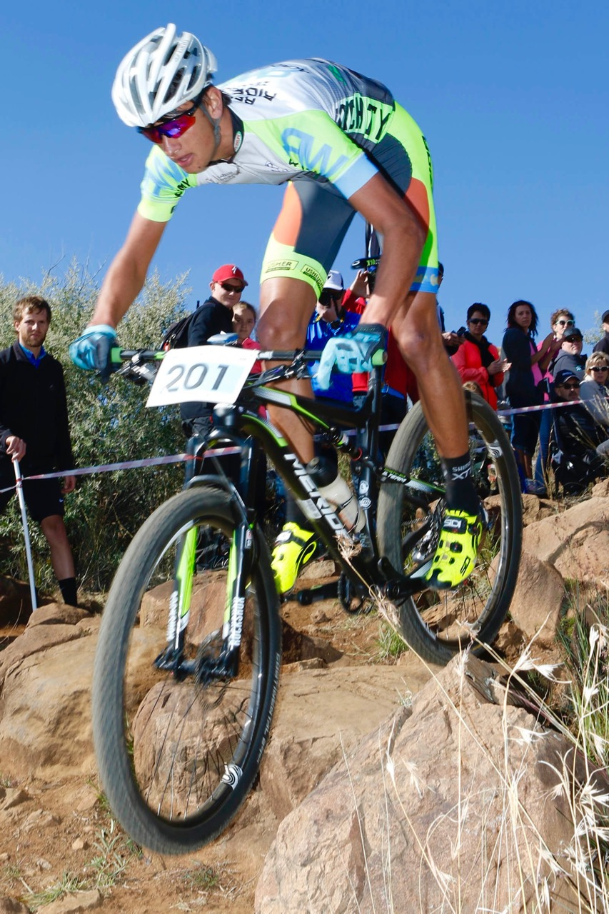 Reinhard Zellhuber (Russell White Academy/Merida/32Gi) beat Jarrod van den Heever by nearly one and a half minutes over the four-lap Junior Men's race at the fifth and final round of the STIHL 2016 SA XCO Cup Series (UCI Cat 2) at Happy Valley Conservancy in Bloemfontein, Free State, on Saturday 18 June. 📷 Johan Roux