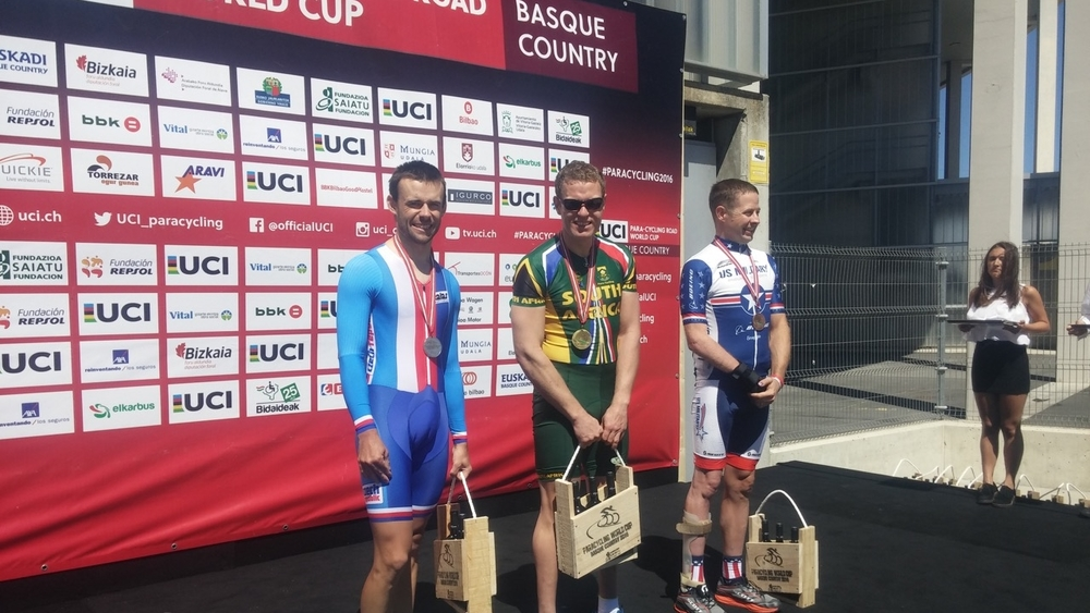 South Africa's T2 rider Gerhard Viljoen maintained an excellent level of concentration throughout his Time Trial and quite easily beat his competitors to claim the gold medal at the UCI Para-cycling Road World Cup, hosted by the Basque Country, Spain. Photo: supplied