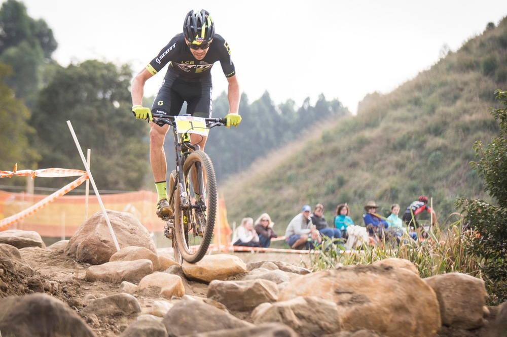 Team Scott LCB's Philip Buys put in a dominant performance during most of the seven-lap Elite Men's race at the STIHL 2016 South African National Mountain bike Championships at Cascades MTB Park in Pietermaritzburg on Saturday 16 July 📸 Andrew Mc Fadden/BOOGS Photography