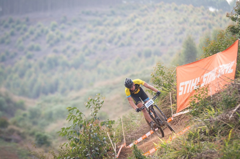 Jarrod van den Heever (Contego) planned his attack well and held his lead until the end of the Junior Men's race at the STIHL 2016 South African National Mountain bike Championships at Cascades MTB Park in Pietermaritzburg on Saturday 16 July 📸 Andrew Mc Fadden/BOOGS Photography