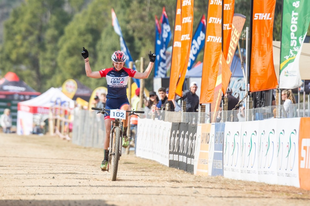 Mariske Strauss (Novus OMX Pro Team) put in a dominant performance to claim the 2016 South African Cross-country National Championship title in the Pro-elite Women's category at the STIHL 2016 South African National Mountain bike Championships at Cascades MTB Park in Pietermaritzburg on Saturday 16 July 📸 Andrew Mc Fadden/BOOGS Photography
