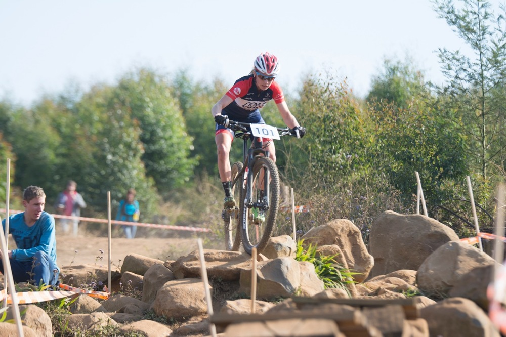 Cherie Redecker (Novus OMX Pro Team) tackles one of the many rock gardens and finishes in second place in the Pro-elite Women's race at the STIHL 2016 South African National Mountain bike Championships at Cascades MTB Park in Pietermaritzburg on Saturday 16 July 📸 Andrew Mc Fadden/BOOGS Photography
