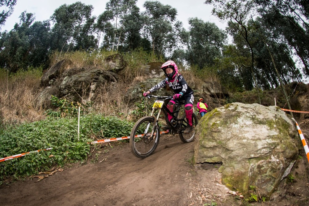 Sabine Thies claimed her second National Title for the weekend after she won her Cross-country race the day before at the STIHL 2016 South African National Mountain bike Downhill Championships at Cascades MTB Park in Pietermaritzburg on Sunday 17 July 📸 Andrew Mc Fadden/BOOGS Photography