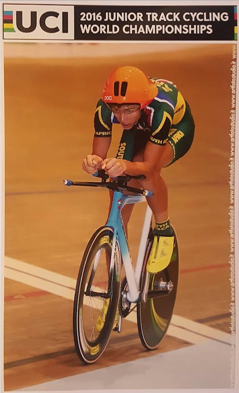 Road and Track enthusiast Jason Oosthuizen broke a National Record at the 2016 UCI Junior Track World Championships, which took place from 20-24 July at the World Cycling Centre in Aigle, Switzerland.   📷  Supplied /    artfotostudio.it