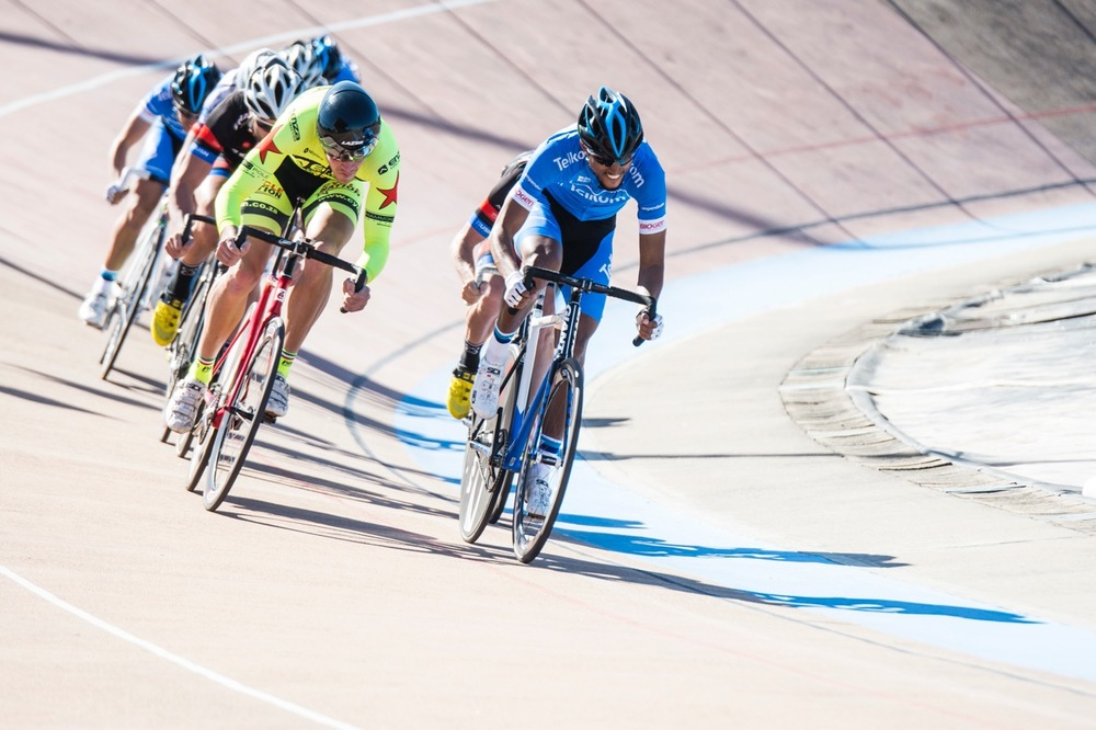 Team Telkom's Nolan Hoffman (right)  and Cyclnation's Jean Spies (left) both achieved goals set ahead of the South African Track Grand Prix (UCI CL2) and National Series, which took place in the sunny Durban, KwaZulu-Natal, at the Cyril Geoghegan Cycle Track from 7-9 August 2016. Photo: Andrew McFadden/BOOGS Photography