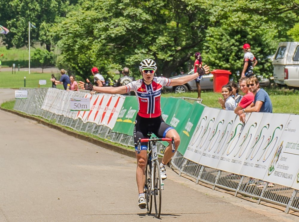 Norwegian Vita Heine (HITEC Products - centre) made it two-out-of-two when she claimed a calculated victory in a time of three hours 18 minutes and 10 seconds at the KZN Summer Series for Women - Queen Sibiya Classic - in Pietermaritzburg and surrounds on Thursday 17 November 2016. Photo credit: Stuart Pickering/Cycling Direct