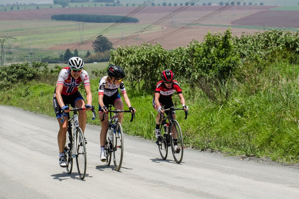 The eventual podium positions of Norwegian Vita Heine (HITEC Products), Dane Marie Vilmann (Cervelo Bigla) and South African Carla Oberholzer (Demacon Cycling Team) crest the final major climb on the technical district road section en route to Curry's Post at the KZN Summer Series for Women - Queen Sibiya Classic - in Pietermaritzburg and surrounds on Thursday 17 November 2016. Photo credit: Stuart Pickering/Cycling Direct