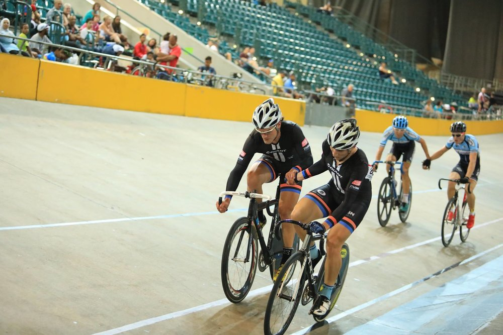 Bernard Esterhuizen and Evan Carstens (pictured front), racing on their home track, were exceptional on the day and in a class of their own, claiming the Open victory SA National Madison Championships at the Bellville Velodrome on Saturday 17 December 2016. Photo credit: Owen Lloyd