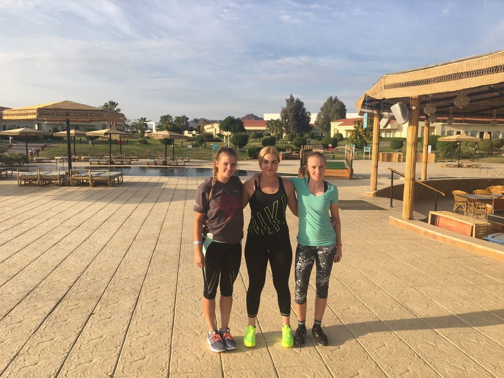 (From left to right) Ashleigh Parsons, Danielle van Niekerk, and Jennifer Abbot are currently taking part in a Road Cycling Training Camp with the World Cycling Centre Africa in Sharm ElSheikh, Egypt, from 22 January - 9 February. Photo: supplied.