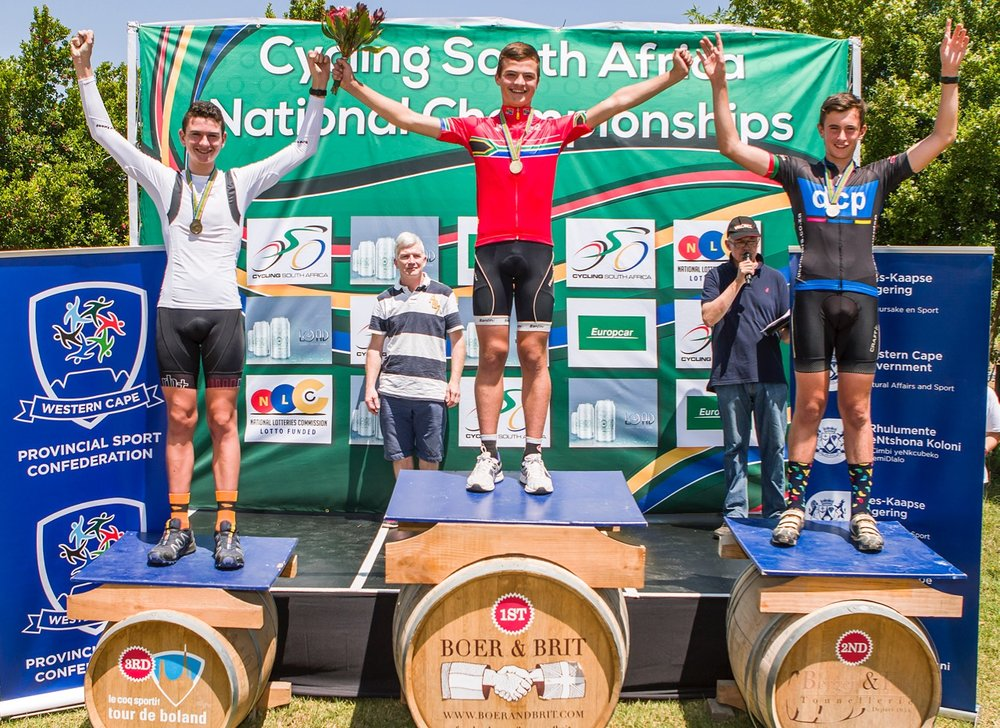 The Men's u17 Podium (from left to right) Alvin Gillespie Bronkhorst (third), Ceajay Bosman (first) and Jamie Penfold (second) at the 2017 SA National Road Championships in Wellington on Tuesday 7 February. Photo: Double ST