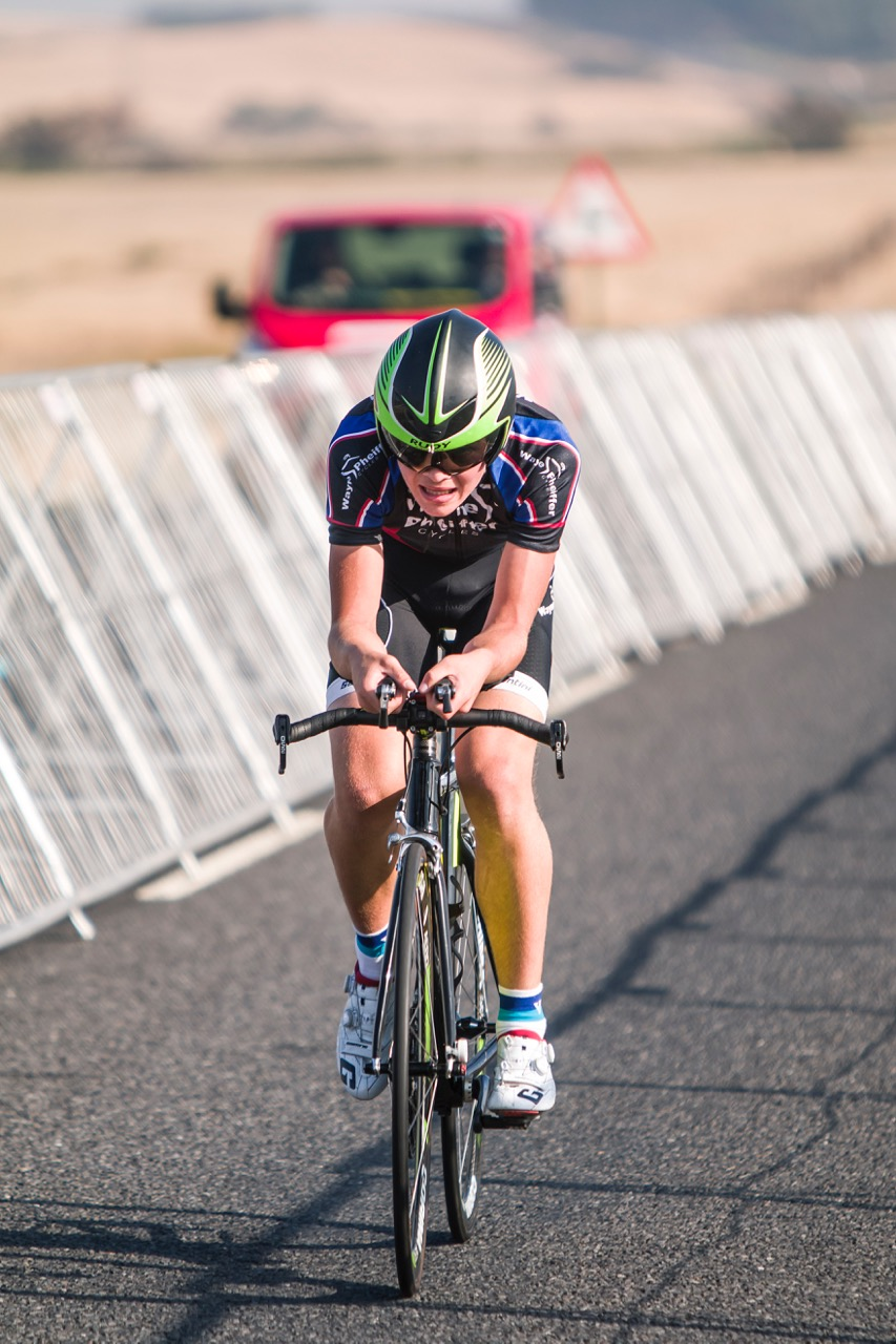 Ceajay Bosman sped to his u17 Boys Time Trial victory at the 2017 SA National Road Championships in Wellington on Tuesday 7 February. Photo: Double ST
