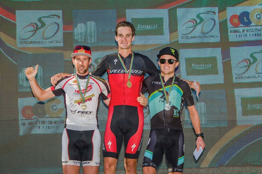 The Elite Men's Podium (from left to right) Nicola Rohrbach, Samuel Gaze and Mathias Flückiger at the first round of the LOAD National MTB XCO Series in Paarl on Saturday 25 February. Photo: DoubleST