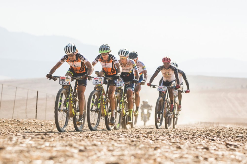 The leading two UCI Women's category teams battle it out during stage 3 of the 2017 Absa Cape Epic Mountain Bike stage race held from Elandskloof in Greyton, South Africa on the 22nd March 2017  Photo by Ewald Sadie/Cape Epic/SPORTZPICS